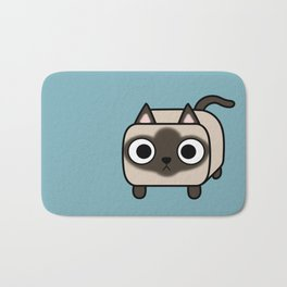 Cat Loaf - Siamese Kitty with Crossed Eyes Bath Mat
