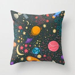 Space adventure Throw Pillow