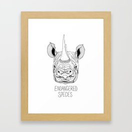 Endangered Species Rhino Framed Art Print