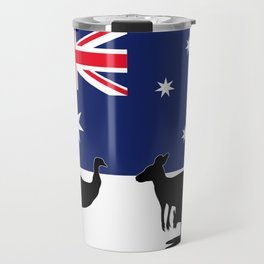 Australian Flag with Emu and Kangaroo by Orikall Travel Mug