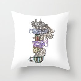 Owlice Wants Another Cup of Tea Throw Pillow