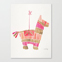 Mexican Donkey Piñata – Pink & Rose Gold Palette Canvas Print
