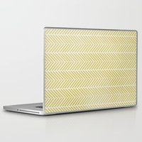 herringbone Laptop & iPad Skins featuring GREEN HERRINGBONE  by Allyson Johnson