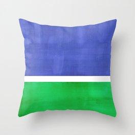 Mid Century Modern Minimalist Colorful Pop Art Rothko Inspired Color Field Blue Emerald Green Throw Pillow