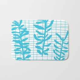 Grid Sprig - aqua blue Bath Mat