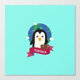 Penguin Globetrotter from Austria T-Shirt Canvas Print