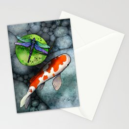 Koi Fish Pond with Dragonfly Stationery Cards