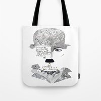 chaplin Tote Bags featuring C. Chaplin by Ina Spasova puzzle