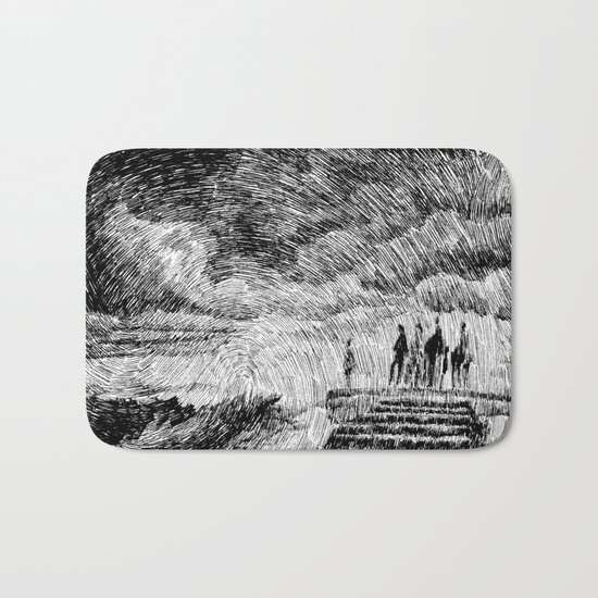Drawing Black ink - Storm Bath Mat