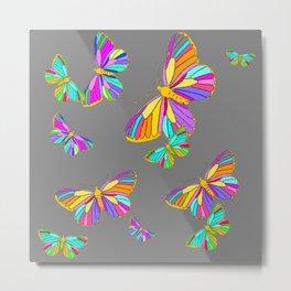 Rainbow Colored Butterflies Charcoal Grey Art Design Metal Print