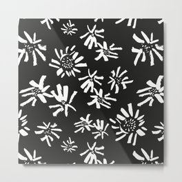 White Flowers On The Black Metal Print