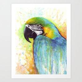 Bird Watercolor Animal Macaw Art Print