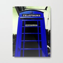 Telephone Booth (blue) Metal Print