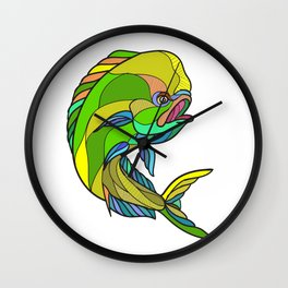 Mahi-Mahi Dorado Dolphin Fish Drawing Wall Clock