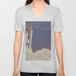 blast off launch pad Shuttle flies into space Unisex V-Neck