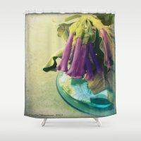 trumpet Shower Curtains featuring Trumpet Flowers by AlyZen Moonshadow