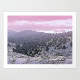 Pink Sunset on Mountains Art Print