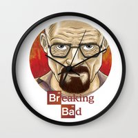 walter white Wall Clocks featuring Walter White  by gunberk