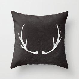 Chalkboard Art - Antlers Throw Pillow