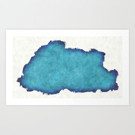 Bhutan map with drawn lines and blue watercolor illustration Art Print
