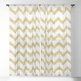 Chevron Gold And White Sheer Curtain