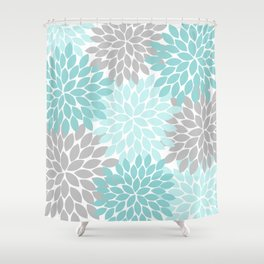 Aqua Gray Floral Flower Burst Petals Design Pattern Shower Curtain