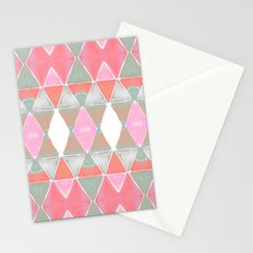 Art Deco Triangles Coral Grey Stationery Cards