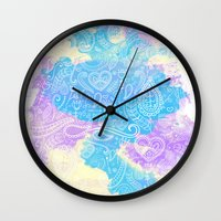 watercolour Wall Clocks featuring Watercolour by Mummy Maid Designs