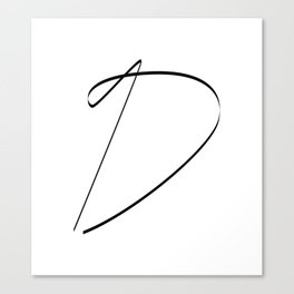 """ Singles Collection "" - One Line Minimal Letter D Print Canvas Print"