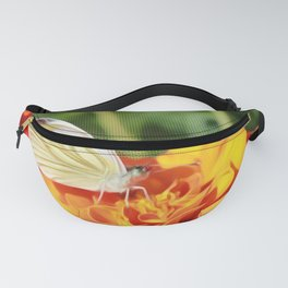 White Cabbage Butterfly on Orange Flower Fanny Pack