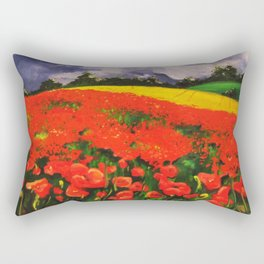 Poppies before the Storm Rectangular Pillow