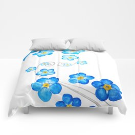 blue forget me not watercolor 2017 Comforters