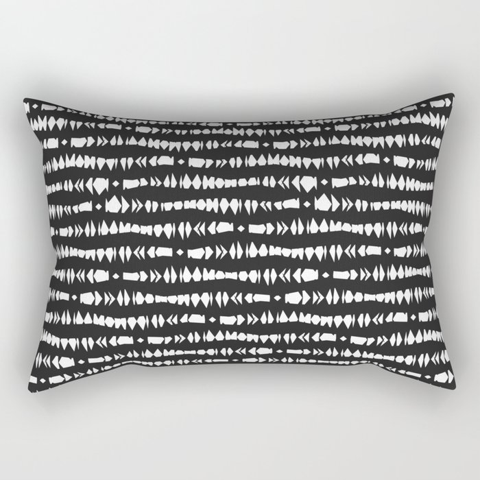Black and White Contemporary Tribal Stripes Rectangular Pillow