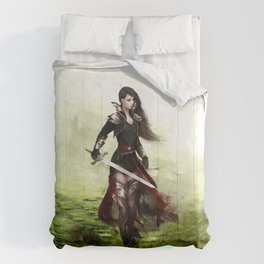 Lady knight - Warrior girl with sword concept art Comforters