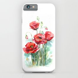 Watercolor red poppies flowers iPhone Case