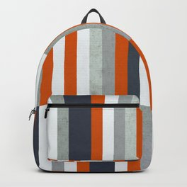 Orange, Navy Blue, Gray / Grey Stripes, Abstract Nautical Maritime Design by Backpack