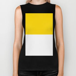 White and Gold Yellow Horizontal Halves Biker Tank
