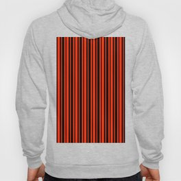 Bright Red and Black Vertical Var Size Stripes Hoody