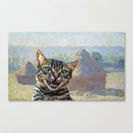 "Bengal Cat Interrupting ""Haystacks at the End of Summer, Morning Effect"" by Claude Monet Canvas Print"
