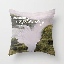 Gullfoss, Iceland - Never Stop Exploring Throw Pillow