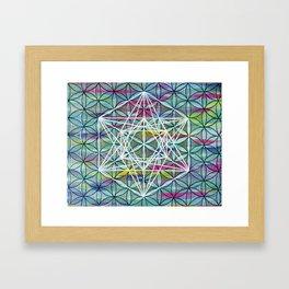 Faded Metatron's Cube Flower of Life Mandala Framed Art Print
