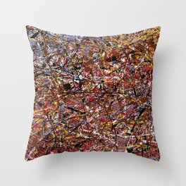 ELECTRIC 071 - Jackson Pollock style abstract design art, abstract painting Throw Pillow