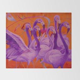 Purple Flamingo Throw Blanket