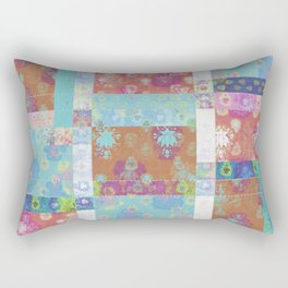 Lotus flower turquoise and apricot stitched patchwork - woodblock print style pattern Rectangular Pillow