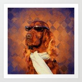 Irish Setter Dog - Sunglasses and Scarf Art Print