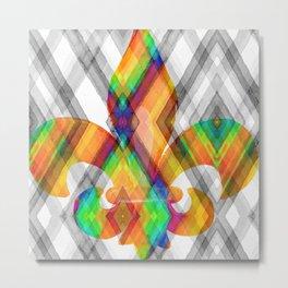 Fleur De Lis Diamond Pattern Metal Print