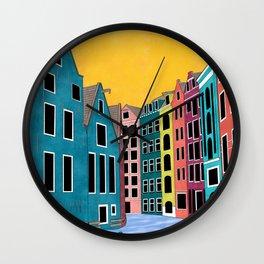 Amsterdam Illustration Wall Clock