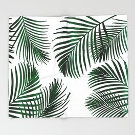 Tropical Palm Leaf Throw Blanket