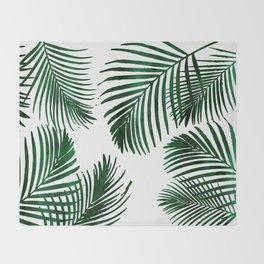 Tropical Palm Leaf Throw Blanket