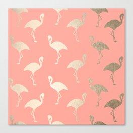 Gold Flamingo Pattern Coral Pink Canvas Print
